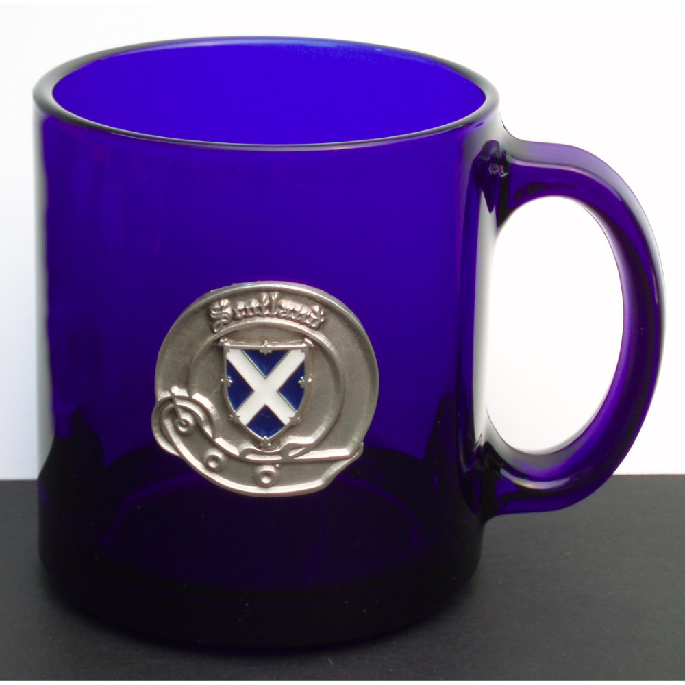 Cobalt Blue Glass Coffee MugPewtEpoxy St Andrew Cross loose