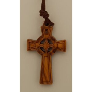#4438 Olive Wood Celtic Cross Pendant