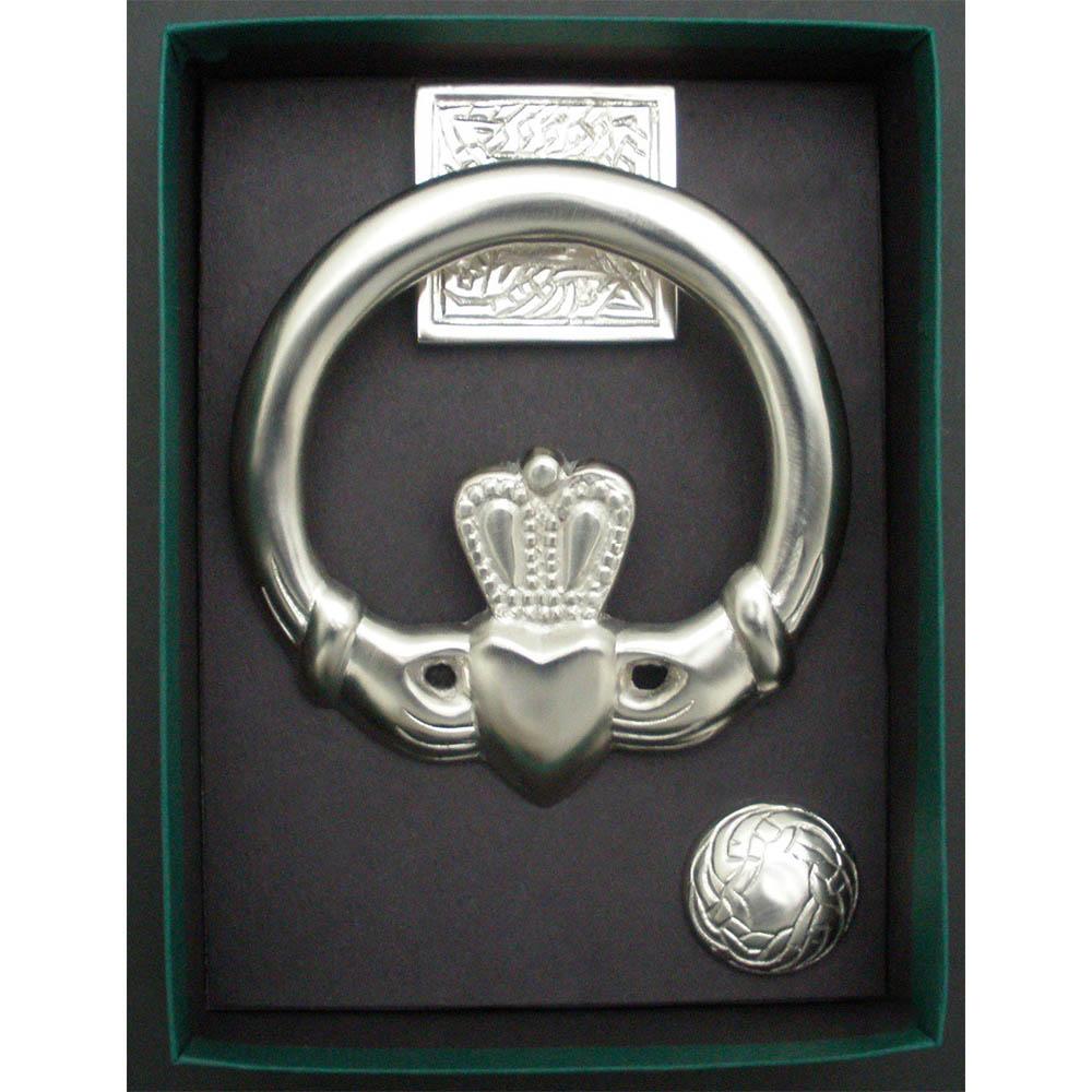 Large claddagh door knocker square back satin nickel silver the robert emmet company inc - Nickel door knocker ...