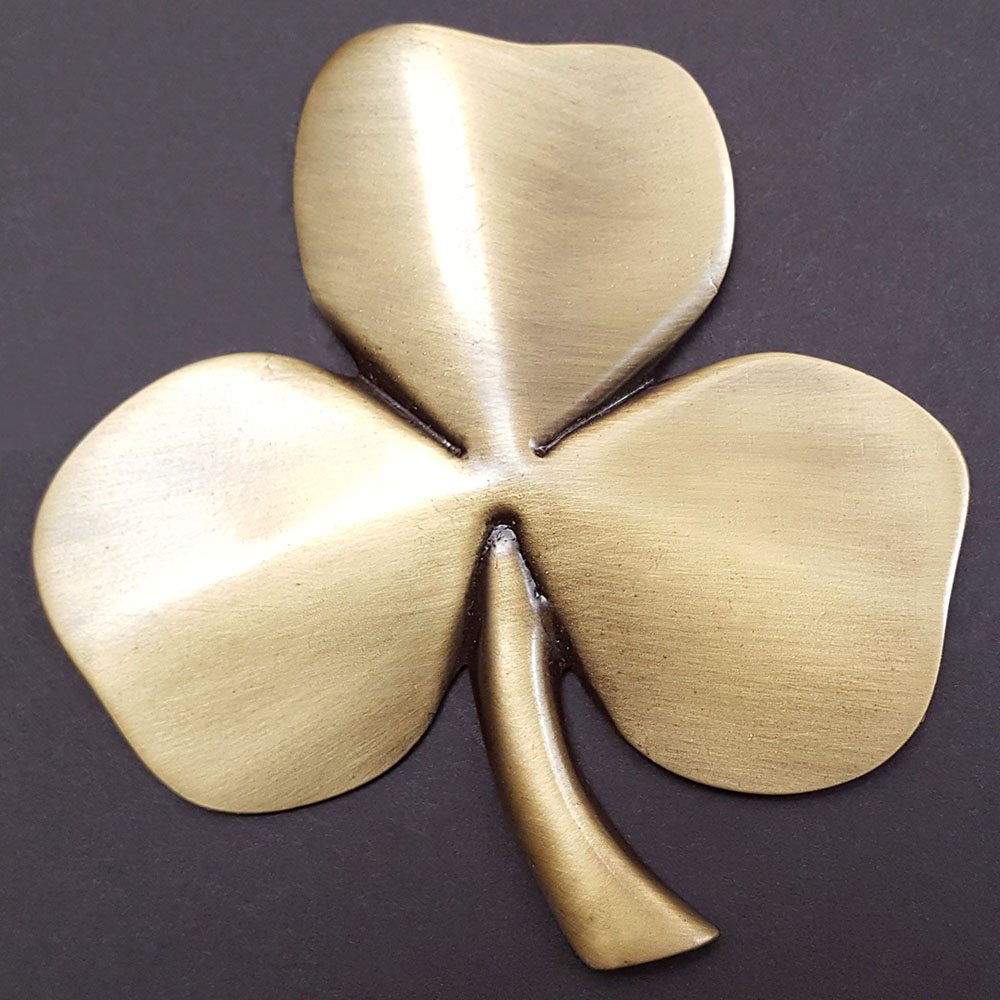 Shamrock Wall Hanging Antique Brass Plated Pewter The