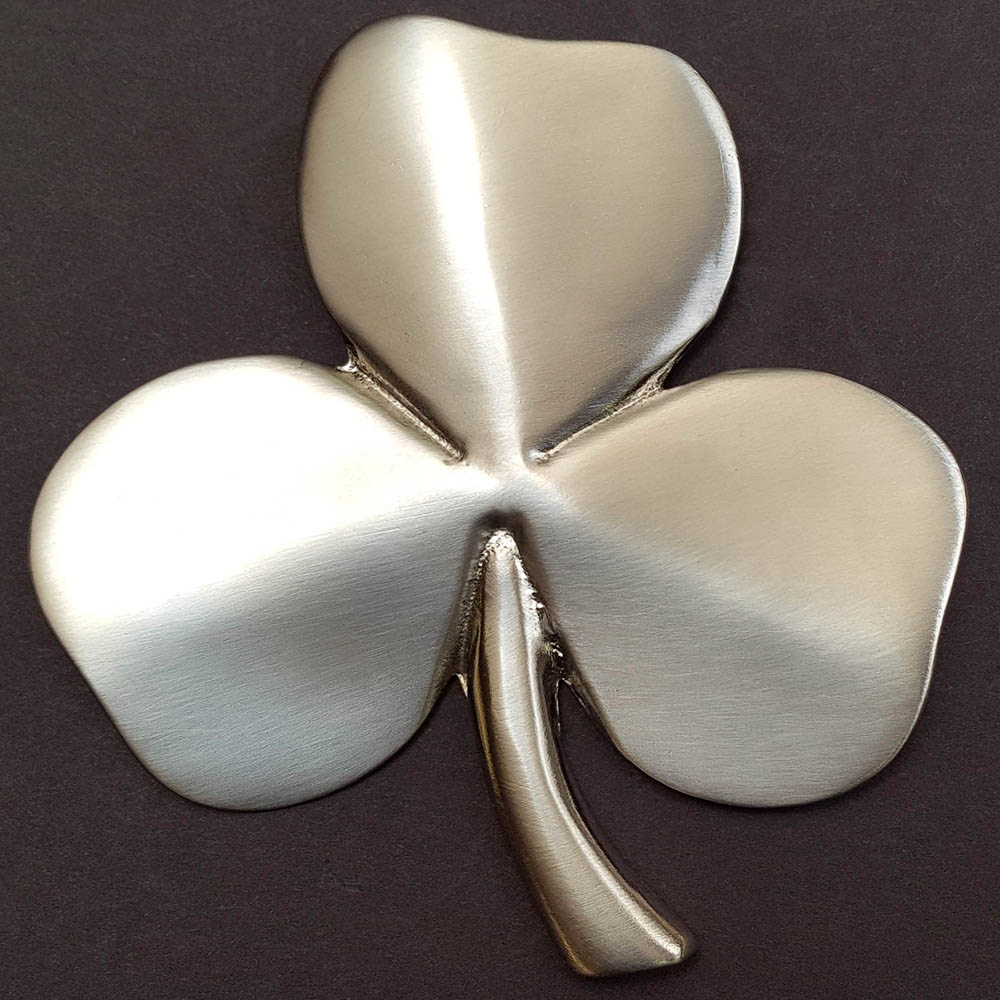 Shamrock Wall Hanging Satin Nickel Silver Plated Pewter