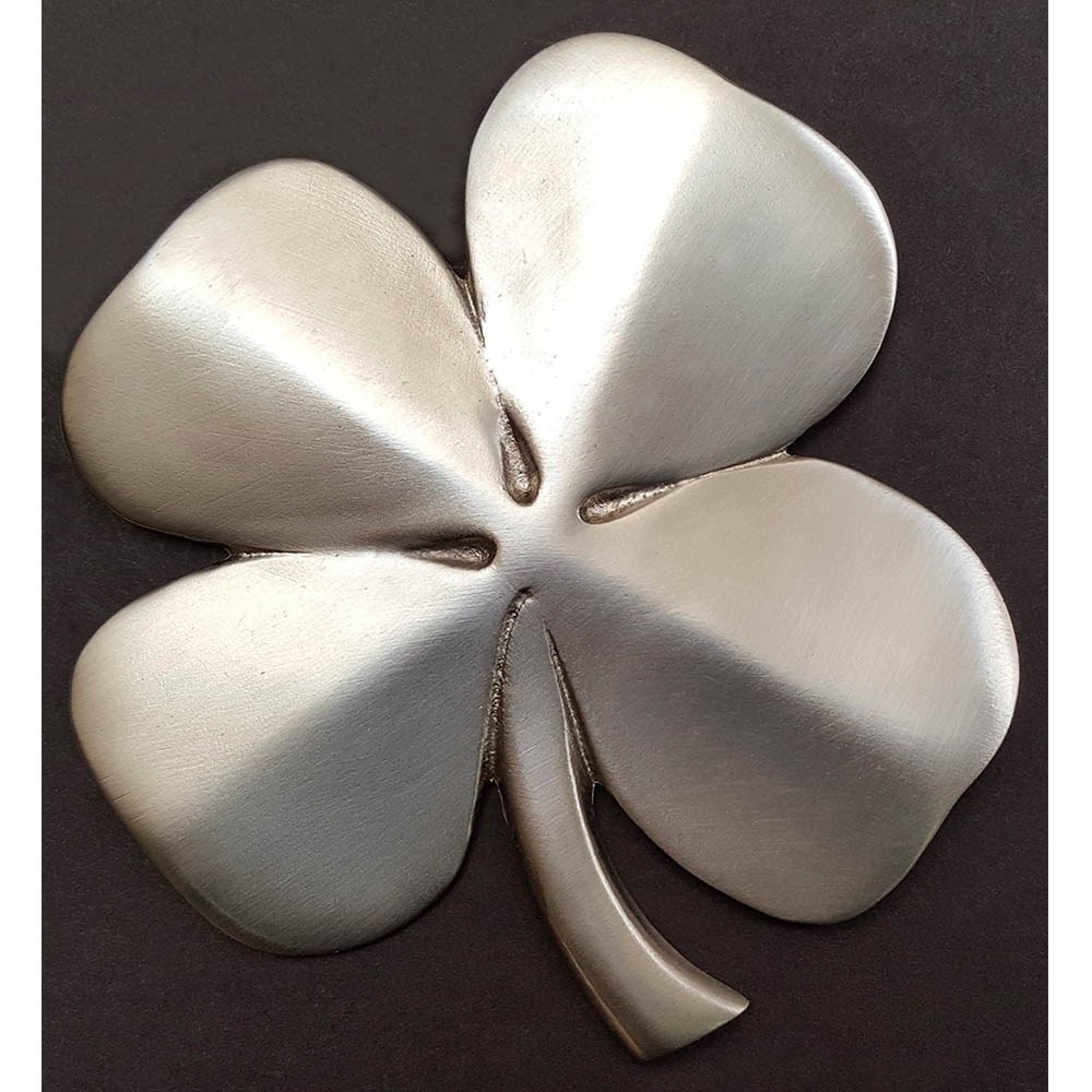 Four Leaf Clover Wall Hanging Satin Nickel Silver Plated